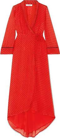Ganni Polka-dot Chiffon Wrap Midi Dress - Red