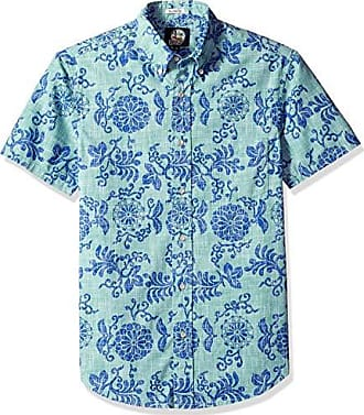 94a6a5dc Reyn Spooner Mens Weekend Wash Tailored Fit Hawaiian Shirt, Royal  Chrysanthemums - Mint XS