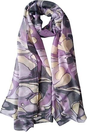 GlamLondon Marble Pattern Scarf Large Size Fashionable Marbled Printed Women Multi Purpose Wrap (Purple)
