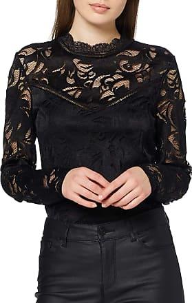 Vila Womens Vistasia L/s Lace Top-noos Long Sleeve, Black (Black Black), 34 (Size: X-Small)