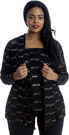 Nouvelle Collection 2 in 1 Sequin Floral Lace Cami & Cardigan Black 18