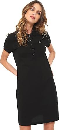 6a9e5d983b6 Lacoste Vestido Polo Lacoste Curto Logo Preto