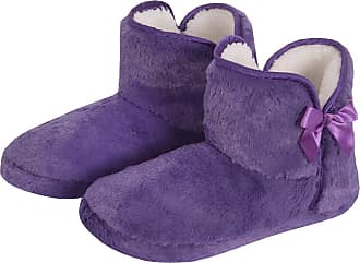 Forever Dreaming Womens Faux Fur Slipper Boots | Memory Foam Insole | Sizes 3-8 | Ribbon Slip On Purple 5-6