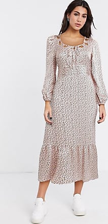 Topshop looped neck midi dress in pink