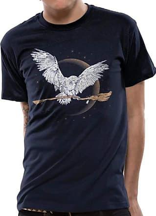 Harry Potter Hedwig Broom - Officiale Warner Bros Blue T-Shirt 100% Cotton