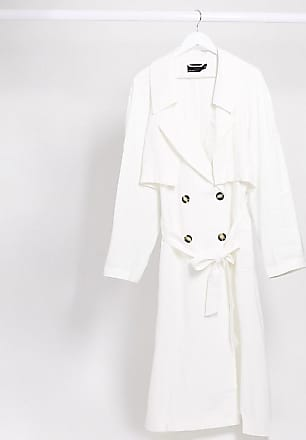 Asos Curve ASOS DESIGN Curve slouchy trench coat in white-Green