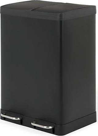 MADE.COM Colter, poubelle tri sélectif 60L (2 bacs 30L) fermeture soft close, noir mat