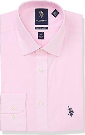 b777f237a7d28 U.S.Polo Association Mens Regular Fit Solid Semi Spread Collar Dress Shirt