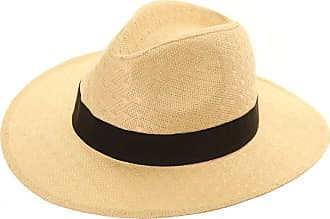 Hawkins UNISEX STRAW CRUSHABLE FOLDABLE PACKABLE SUMMER FEDORA,PANAMA TRILBY SUN HAT With Belt Band and Wider Brim, beige, 58