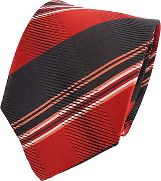 TigerTie Designer silk tie orange black white striped - tie necktie silk
