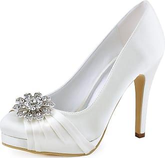 Elegantpark EP2015-PF Women Closed Toe Platform High Heels Court Shoes Pleated Rhinestones Satin Wedding Party Bridal Shoes Ivory UK 2(EU 35)