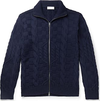 Etro Slim-fit Cable-knit Wool Zip-up Cardigan - Blue