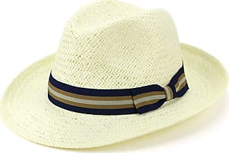 Hawkins Wide Brim Straw Panama Fedora Hat with Multi-Coloured Band - Blue & Brown