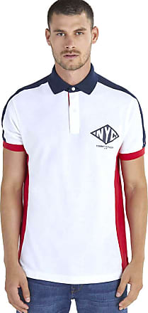 Tommy Hilfiger Camisa Polo Masculina Piquet Regular Fit Manga Curta Faixa Lateral E Logo Retro Frontal