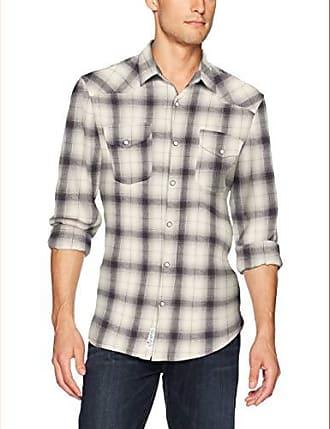 Lucky Brand Mens Santa FE Western Shirt, Grey/Natural, XL