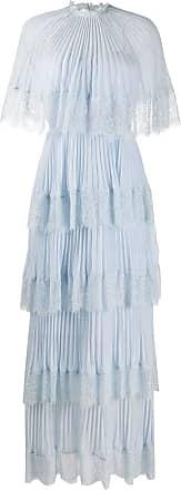 Self Portrait cape tiered maxi dress - Blue