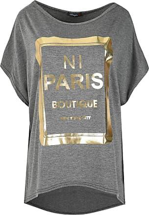 Be Jealous Womens Printed Lagenlook Batwing T Shirt Top Charcoal M/L (UK 12/14)