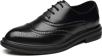 LanFengeu Men Brogue Shoes Retro Casual Pointed Toe Oxford Lace up Flats Derbys Male Business Office Dress Leather Shoe Black
