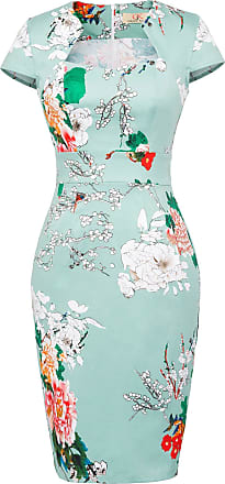 Grace Karin Women Elegant Wear to Work Knee-Length Pencil Dresses Floral-18(CL7597) XX-Large