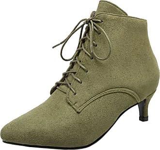 RAZAMAZA Womens Lace up Pointed Toe Kitten Heels Ankle Dress Boots (38 EU,Army Green)