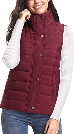 iClosam Womens Sleeveless Coat Stand Collar Lightweight Vest Gilet Puffer Zip Quilted Jacket Wine Red