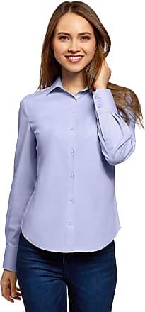 oodji Womens Basic Cotton Shirt, Blue, UK 4 / EU 34 / XXS