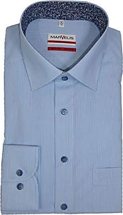 44 Bügelfrei MARVELiS Herren Hemd Modern Fit Hellblau