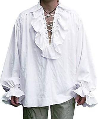 Herren Herbst Tops Hemd Mittelalter Retro Gothic Einfarbig Langarm Lose Shirt