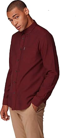 Ben Sherman Mens Big Size Long Sleeved Classic Oxford Shirt in Bordeaux in 3XL