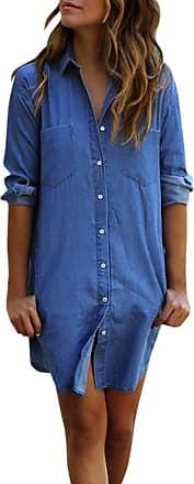 FNKDOR Womens Casual Long Sleeve Vintage Blue Denim Shirt Tops Blouse