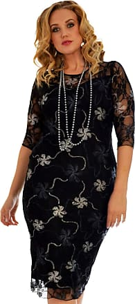 Nouvelle Collection New Womens Plus Size Dress Ladies Floral Lace Gold and Silver Foil Midi Bodycon Dress Knee Length Party Wear Silver 26-28