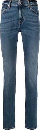 7 For All Mankind Calça jeans reta cintura média - Azul