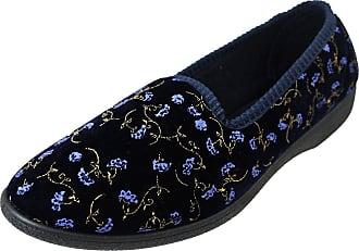 Footwear Studio Four Seasons Womens Navy Outdoor Sole Floral Slippers UK 6