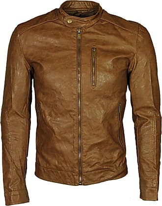 Only & Sons Mens New Faux Leather Jacket in Brown Colour Sizes S to 2XL RRP £65 (XX-Large)