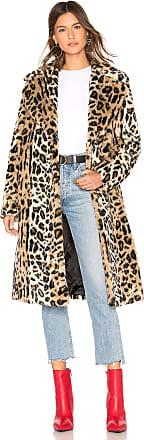 Kendall + Kylie Faux Fur Long Coat in Brown