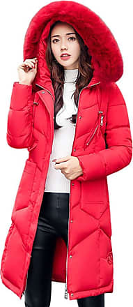 JERFER LEXUPE Women Winter Casual Outerwear Fur Hooded Coat Long Cotton-Padded Jackets Pocket Ladies Coats (UK:12/CN:L, Red)