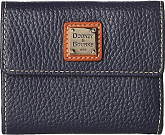 Dooney & Bourke Pebble Leather New SLGS Small Flap Credit Card Wallet (Midnight Blue) Wallet Handbags