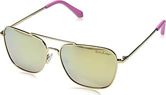 7ec4a530db Lilly Pulitzer Womens Kate Polarized Square Sunglasses Shiny Gold 55 mm