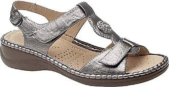 Boulevard Ladies Pewter Touch Fastening Halterback Sandal - Pewter - size UK Ladies Size 7