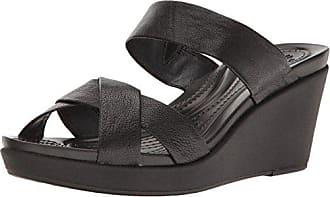 eab152113c Crocs Womens Leighann Leather Wedge Sandal, Black/Black, 11 M US