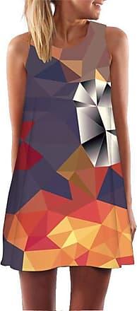 Ocean Plus Womens Sleeveless Vintage Boho Beach Dress Sundress Tank Tops Beach Dress Round Neck Short A Line Shirt Dress Blouse Dress (XXL (UK 14-16), Orange Geo