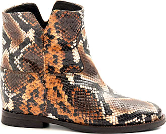 Via Roma 15 Snake Effect Ankle Boots with Wedge - 1626 Anaconda - Size Brown Size: 8 UK