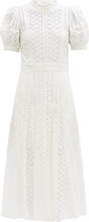 Self Portrait Self-portrait - Open-back Broderie-anglaise Cotton Dress - Womens - White