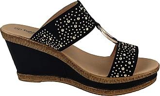 Cushion-Walk Ladies Leather Lined Peep Toe Mid Wedge Heel Slip On Sling Back Mules Sandals Size 3-8 (8 UK, Black/Stud)