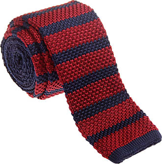 Retreez Vintage Smart Casual Mens 2 Skinny Knit Tie - Burgundy and Navy Blue
