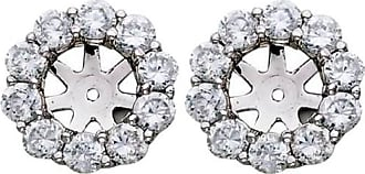 Pompeii3 G/SI 1.50CT Diamond Halo Earring Studs Jackets White Gold Fits 1.00CT (6-6.7MM)