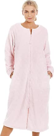 Camille Womens Supersoft Light Pink Zip Up Diamond Print Housecoat 10/12