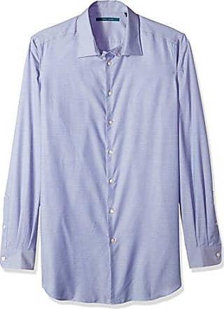 Perry Ellis Mens Essential Big and Tall Plaid Pattern Shirt, Coastal f jord, 4X