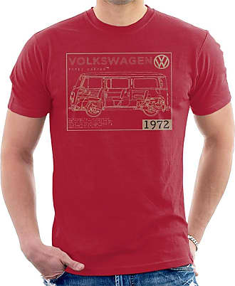 Volkswagen Type 2 Camper Plans Light Text Mens T-Shirt Cherry Red
