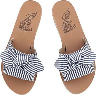 Ancient Greek Sandals Taygete Bow Blue Stripes
